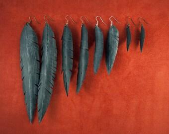 Vegan Feather Bike Tube Earrings