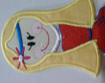 Iron On Hippy Girl Patch/ applique, hippy embroidered applique patch