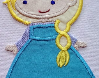 2nd, Iron On Winter Princess Patch/ applique,  embroidered applique patch