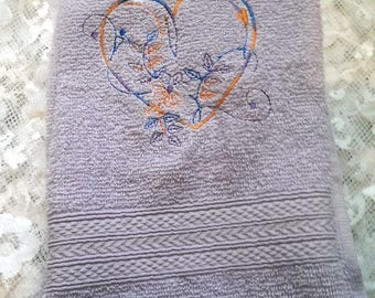 Heart Embroidered Hand Towel, Hand Towel, Gift for Mum