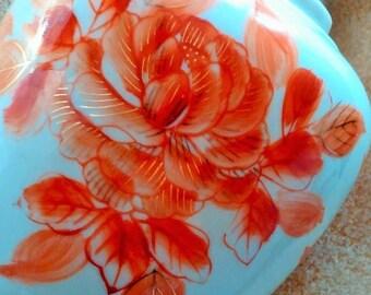 2 DAY SALE Ginger Jar Vase, Orange Flowers, Hand Painted, Japan