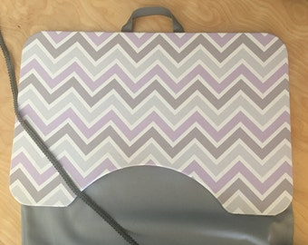 Large Light Purple and Gray Chevron Lap Desk