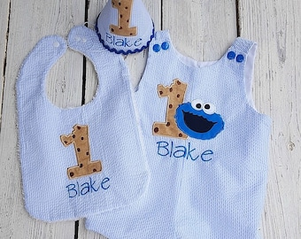 Cookie Monster Inspired Jon Jon and/or Matching Birthday Hat and Bib