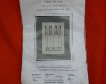 Frank Lloyd Wright tree of life window embroidery kit canvas threads complete