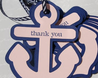 12 navy blush pink thank you anchor tags nautical thank you ocean nautical theme tag bridal shower wedding nautical theme favor anchor tag