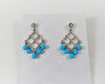 Beautiful Blue And Clear Rhinestones Chandelier Post Earrings