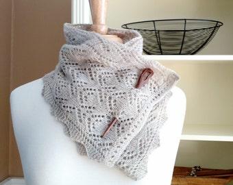 Knitting Lace Scarf Pattern PDF- Smoky Mountain Morning Mist Scarf Shawl - rectangle lace cowl shawl wrap -  pattern using sock yarn