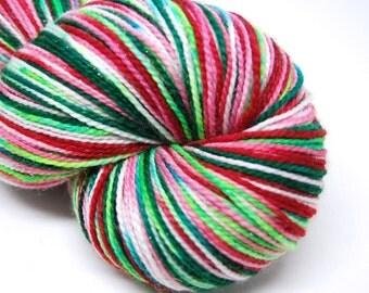 "Glam Rock Sparkle Sock Yarn - ""Nordic Holiday"" -  Handpainted Superwash Merino - 438 Yards"