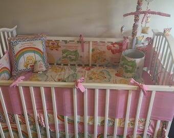 Vintage Care Bears Boutique Custom Crib Mini Crib Nursery Toddler Girl Bedding Set