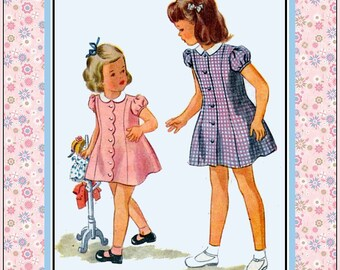 Vintage 1947-PRINCESS SEAM DRESS-Sewing Pattern-Two Styles-Scallop Edge-Short Puff Sleeves-Button Detail-Matching Panties-Size 4-Mega Rare
