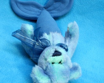 LIttle Blue Mer-Bear from recycled plush with ribbon roses