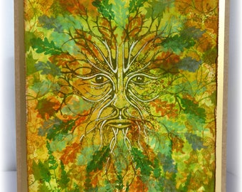 The Green Man in the woods - gorgeous fantasy handmade greetings card