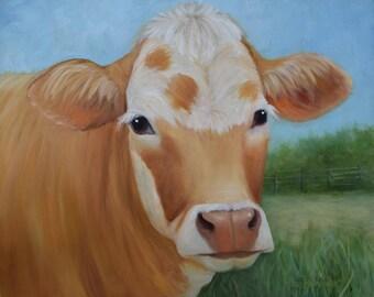 Rusty Blond Cow Painting Carmelita Caramel,mantel art,16x20 Original Oil On Canvas Painting by Cheri Wollenberg