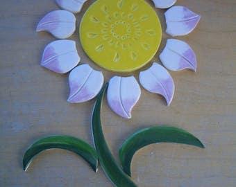 PLF1 -15 Pc WHITE, Lilat FLOWERS Greens  - Ceramic Mosaic Tiles