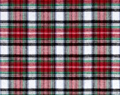Flannel-Yarn Dyed Flannel Yarn Dyed Lightweight Flannel Plaid- Black Red Green- White- By The Yard-56 inches wide