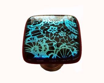 Aqua Lace Dichroic Glass Cabinet Knob - One of a kind lace patterns in this stunning decorative knob or drawer pull by Uneek Glass Fusions