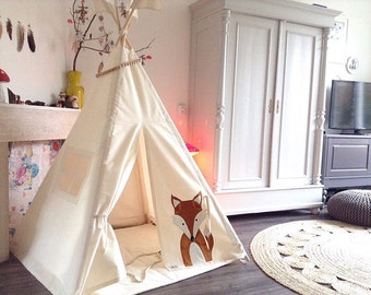 Play Teepee Tent - MIDI size 'Fox' decorated indoor play teepee tent
