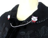 Cat Collar / Sweater / Cardigan Clips by Dolly Cool 40s 50s Reproduction Vintage Style Novelty Red White Polka Dot Rockabilly