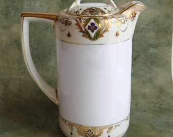 Vintage Antique Nippon Chocolate Pot or Coffee Pot - Hand Painted Japanese 1891-1921 - Gold Gilding - Edwardian Garlands - Fine Bone China