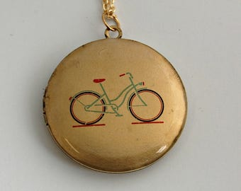 Bike Locket Necklace Bicycle Pendant Bike Accessories Biker Gift for Cyclist Cruiser Bike Rider Lockets Necklaces Bike Jewelry Custom Photo