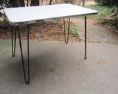 Vintage Mid Century Modern Formica Table with Boomerang Design and Black Hairpin Iron Legs