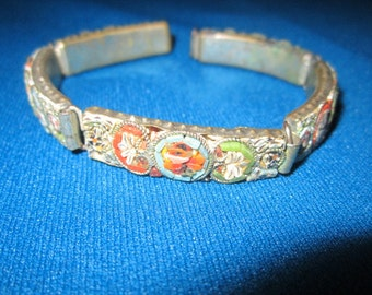 Antique Edwardian Italian Micro Mosaic Link Bracelet for Repair or Assemblage