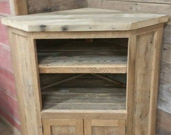 YOUR Custom Made Rustic Barn Wood Corner Entertainment Center, Tv Stand or Cabinet FREE SHIPPING - BWEC1200CF