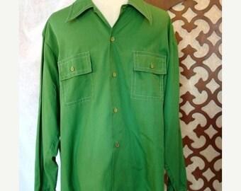 Sale Mens Shirt Vintage American Prep Style in Green Sz L DARWIN