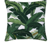 Palm STUFFED Pillow, Island Hopping Emerald Pillow, Tommy Bahama Palm Pillow Tropical Outdoor Pillow, Green Banana Leaf Pillow - Free Ship