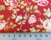RJR Fabric -Roses De Noel by Robyn Pandolph - Lovely Red and Pink Medium / Large Floral - 3 Yards  -  CLEARANCE SALE