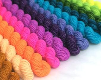 Hand-dyed Merino Sock Yarn Mini Skein Set 13x10g - Spring Palette 2017 - dyed to order