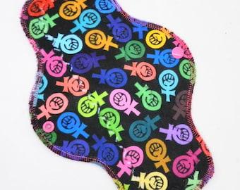 "10"" Moderate Cloth Pad, Minky Cloth Menstrual Pad, MotherMoonPads, Day Pad, Light Incontinence Pad, Feminist Fists Minky, Windpro Fleece"