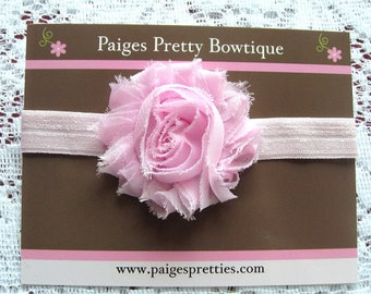 Light Pink Shabby Chic Flower Headband-Baby Headband-Toddler Headband-Elastic Headband-Infant Headband