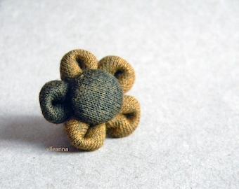 Flower lapel pin. Men's boutonniere. Buttonhole.  Khaki and brown.