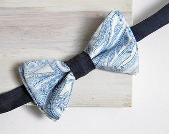 Men bow tie - Paisley bowtie - Made in Italy -  Pre tied bow tie - Blue and white.