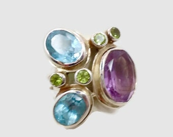 ON SALE Amethyst, Blue Topaz Ring, Sterling Silver Ring, Peridot, Statement Ring, Gemstone, Multi Stones, Purple  Blue Green, Big Stones, Fa