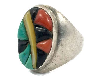 Turquoise Ring, Inlay Inlaid, Turquoise, Coral, Onyx, MOP, Cobblestone Inlay, Sterling Silver, Native American, Size 9 Signed, Mens