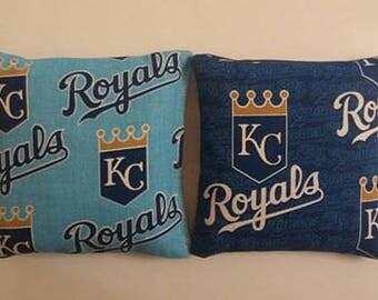 Kansas City Royals Cornhole Bags- FREE SHIPPING - Set of 8 MLB Fabric Baseball Cornhole or Baggo Bean Bag Toss Game Bags