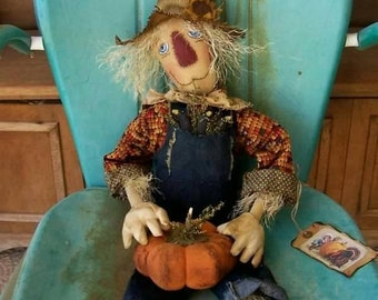 Primitive Scarecrow Art Doll & Crows Pumpkin Thanksgiving Fall Harvest  Autumn Farm ofg hafair faap