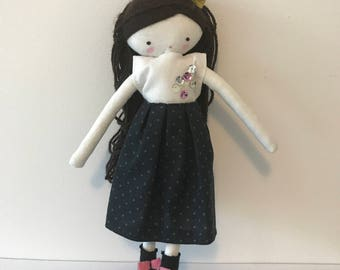 Handmade rag doll , Carla- ooak cloth art rag doll polka dots skirt, blouse and socks toys for girls