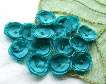 Fabric sew on flowers, peacock blue cloth flowers, green fabric flowers, wholesale flower appliques, silk flowers bulk (15pcs)- TEAL GREEN