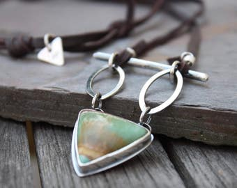 Variscite Necklace, Boho Style Necklace, Green Stone Jewelry, Metalsmithed Jewelry, Leather Jewelry