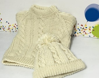 READY TO SHIP      Handmade Knit Aran Cable Sweater and Hat/Boys/Aran/Acrylic        Size 1 to 2 years