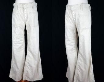 1960s Corduroy Bellbottom Pants Beige Tan Flared Wide Leg Button Fly Sailor Hipster Front Pocket