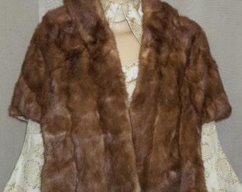 ON SALE Vintage Emba Autumn Haze Natural Brown Mutation Mink Fur Stole Capelet Shrug Womens Genuine