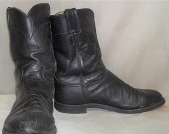 ON SALE Vintage Black Justin Roper Barn Fresh Leather Cowboy Boots Mens 10 1/2 EE