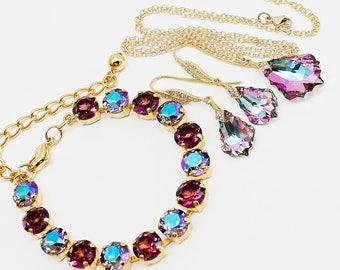 Purple Blue Jewelry Set Gold, Necklace Earrings Bracelet, CZ Baroque Swarovski Crystal Amethyst Violet Bridal Jewelry