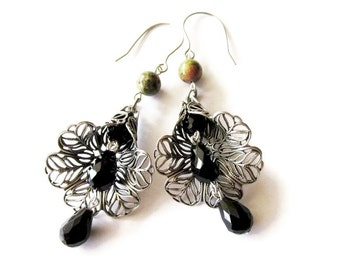 Antique Silver Filigree Cone and Black Glass Drop Earrings. Trumpet Flower Earrings