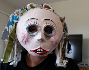 Hand Crafted Paper Mache - Creepy Doll - Rag Doll - Baby Doll -  Cosplay Mask - OOAK