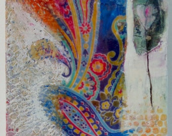 Mixed Media Collage and encaustic paint on board with FREE Shipping in the US